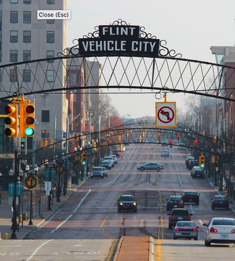 photograph of downtown Flint, Michigan