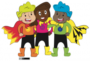 Cartoon illustration of children as superheros